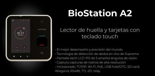 Lector de huella y tarjetas con teclado touch BioStation A2 | Sistemas Sintel