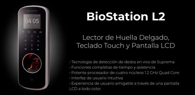 Lector de Huella Delgado Teclado Touch y Pantalla LCD BioStation L2 | Sistemas Sintel