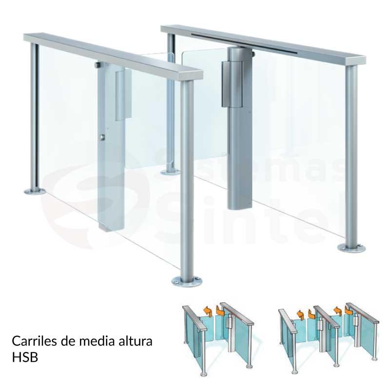 Pasillos o carriles de media altura para acceso Dormakaba HSB E07 | Sintel control de acceso