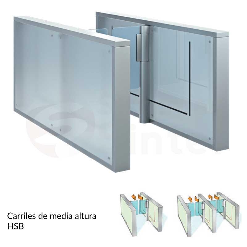 Pasillos o carriles de media altura para acceso Dormakaba HSB S07 | Sintel control de acceso