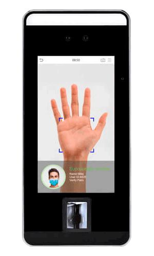 Lector biométrico sin contacto rostro y palma para acceso y asistencia | Sintel